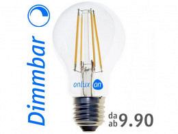 LED Lampe : onlux FiLux A60-4ED E27 DIM 4-Filament LED 230V - 7.2W 850lm Ra>80 300°(60W)